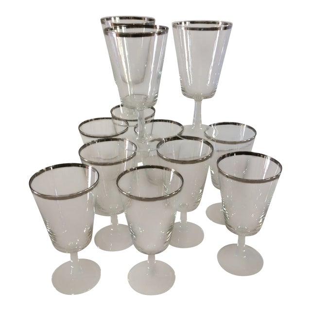 French Platinum Rim Crystal Cocktail /Water Glasses - Set of 12 For Sale