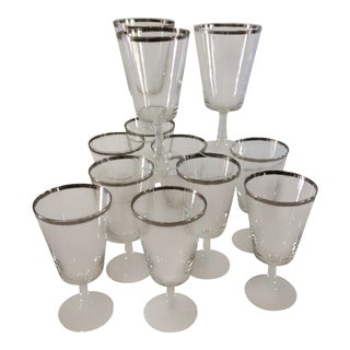 Silver Rim Fostoria Crystal Cocktail Glasses - Set of 12