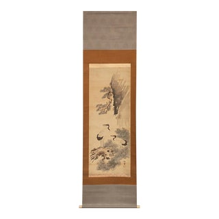 1980s Edo Era Large Japanese Cranes Silk Scroll Painting For Sale