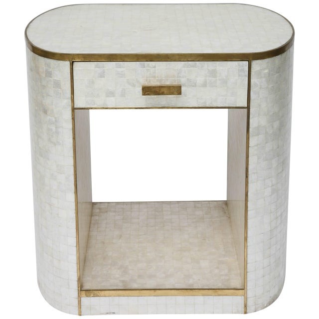 Capiz Shell and Antiqued Brass Cabinet by Platt Collections For Sale