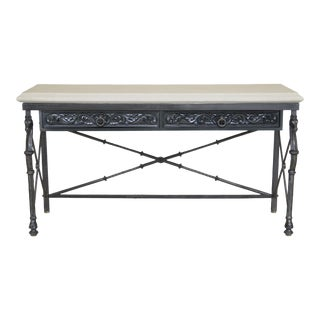 Traditional Travertine Top Iron Base Console Table with Equestrian Heads For Sale