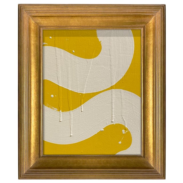 Abstract Ron Giusti Mini Hebi No. 2 Yellow and Cream Acrylic Painting, Framed For Sale - Image 3 of 3