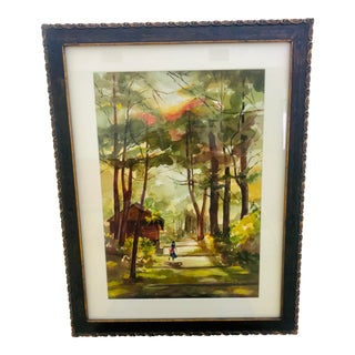 """""""Running Home"""" Watercolor Painting, Framed For Sale"""