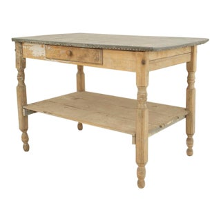 19th Century American Country Rustic Style Rectangular Stripped Antique Weathered Work Table For Sale