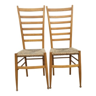 Vintage Mid Century Italian Ladder Back Chairs- A Pair For Sale