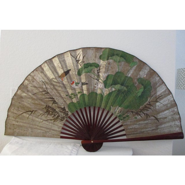 1980s Japanese Hand-Painted Paper & Wood Wall Fan For Sale - Image 13 of 13