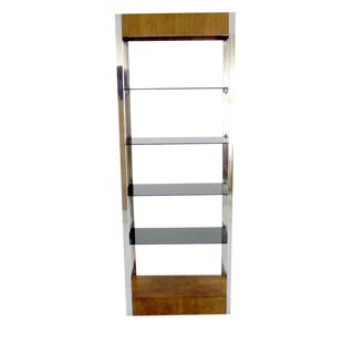 Chrome and Walnut Etagere, 1970s For Sale