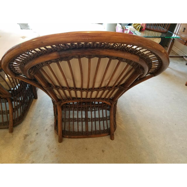 Brown Vintage Wicker Rattan Chaise Lounges - A Pair For Sale - Image 8 of 9
