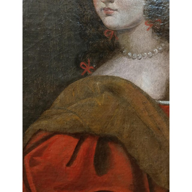 Oil Paint 17th century Old Master-Portrait of a Elegant Woman- Oil painting For Sale - Image 7 of 10