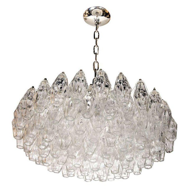 Transparent Modernist Handblown Translucent Murano Glass Polyhedral Chandelier For Sale - Image 8 of 8