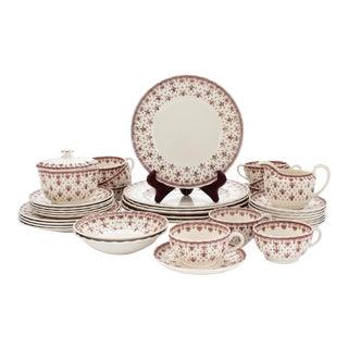 """1950s Spode """"Fleur De Lis"""" Brown Transferware Porcelain China Set- 31 Pieces For Sale"""