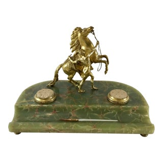 "20th Century Figurative Gilt Bronze on Marble ""The Horse Tamer"" Figural Inkwell For Sale"
