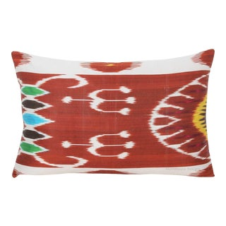 Silk Atla Silk Warp Down Feather Ikat Lumbar Pillow For Sale