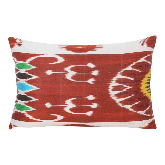 Silk Atla Silk Warp Down Feather Ikat Lumbar Pillow For Sale