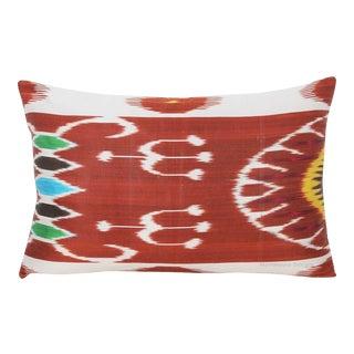 Silk Atlas Silk Warp Down Feather Ikat Lumbar Pillow For Sale