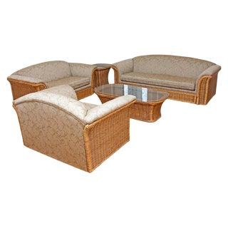 1980s Vintage Wicker Sofa Set- 4 Pieces For Sale
