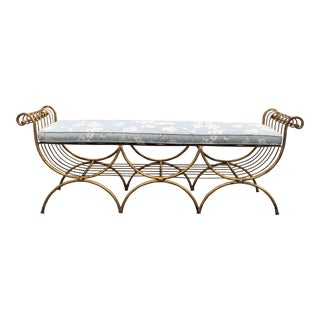 Vintage Mid Century Hollywood Regency Gilt Metal Bench For Sale