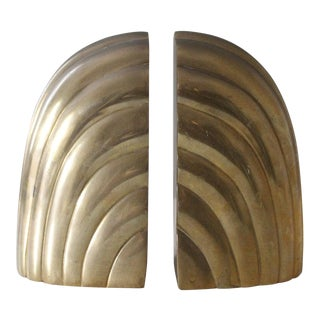 Vintage Brass Arched Bookends Art Deco Mid Century For Sale