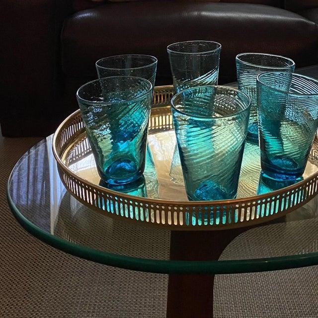 Murano Handblown Aqua Swirl Cocktail Glasses, Set of 6 For Sale - Image 4 of 7