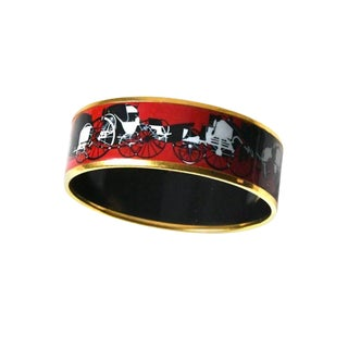 Red Hermes Enamel Bracelet For Sale