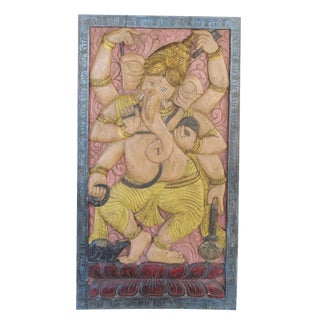 Vintage Ganapati Zen Mediation Yoga Sculptural Door Panel For Sale