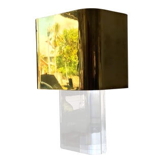 Karl Springer Lucite Table Lamp with Brass Shade