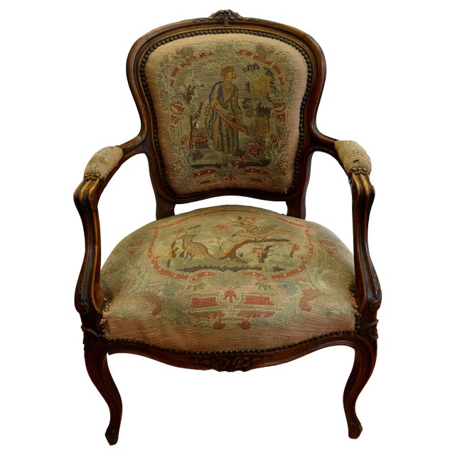 French Needlepoint Armchair - Image 1 of 5