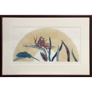 Mixed Media Painting of Bird of Paradise Flower/Plant For Sale