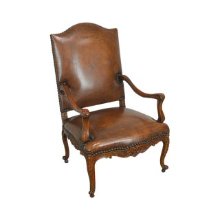 Theodore Alexander French Louis XV Style Brown Leather Carved Mahogany Arm Chair For Sale