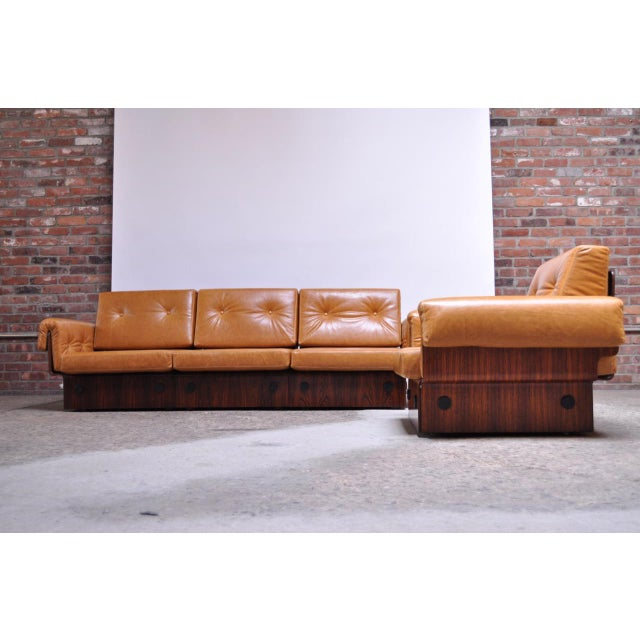 Brazilian Modern Rosewood and Leather Modular Sofa or Settees - 4 Pc. Set For Sale - Image 13 of 13