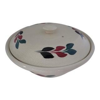 Vintage Hand Painted Lidded Bowl For Sale