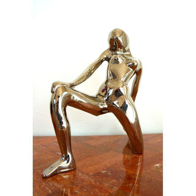 Fabulous 1980s abstract nude statue by Jaru. Ceramic with mirror like chrome surface. Signed & dated. Great with mid...