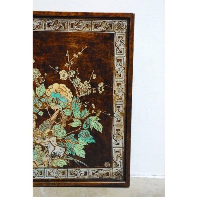 Chinese Floral and Foliate Painted Relief Panel For Sale - Image 5 of 11