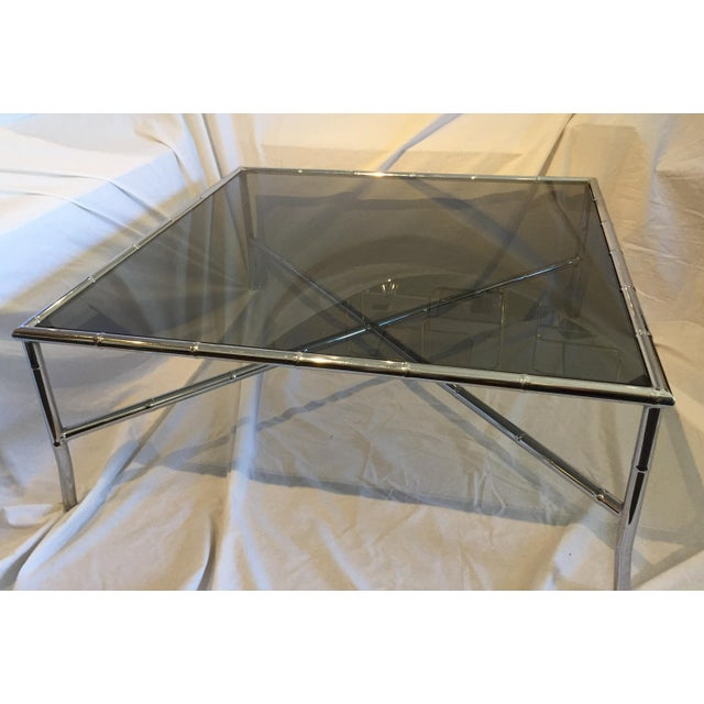 Milo Baughman Style Hollywood Regency Chrome Table For Sale - Image 4 of 5