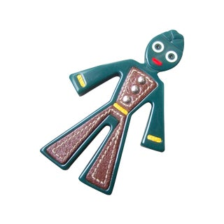 Prada Whimsical Figural Resin Leather Trim Bellhop Brooch, Circa 1990s For Sale