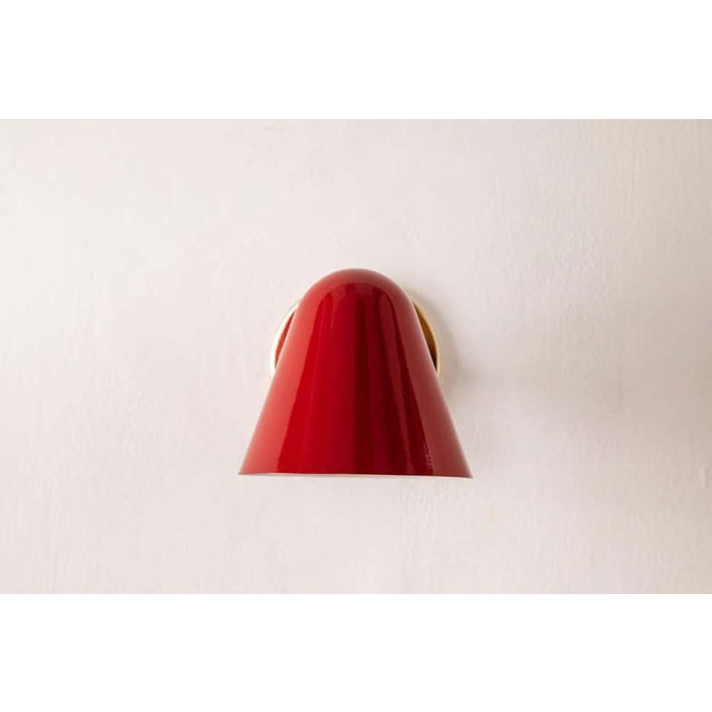 1950s Jacques Biny Red Wall Lights - a Pair For Sale - Image 11 of 13