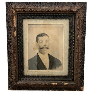 Antique American Portrait in Frame For Sale