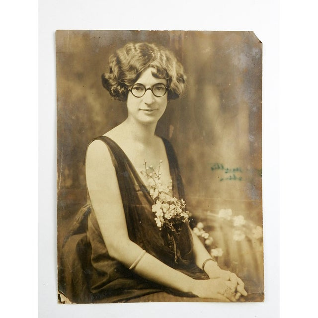 Art Deco C.1920 Flapper Girl With Glasses & Plunging Neckline Portrait Photo For Sale - Image 3 of 3