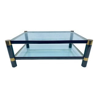 Karl Springer Gunmetal and Brass Coffee Table For Sale