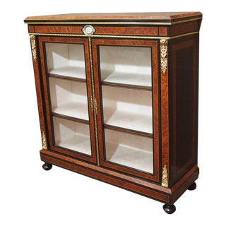 Antique English Briarwood and Ebonized Cabinet For Sale