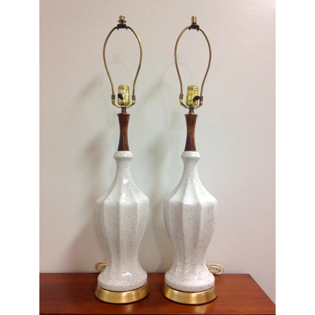 White White Ceramic Gold Flecked Table Lamps - a Pair For Sale - Image 8 of 8