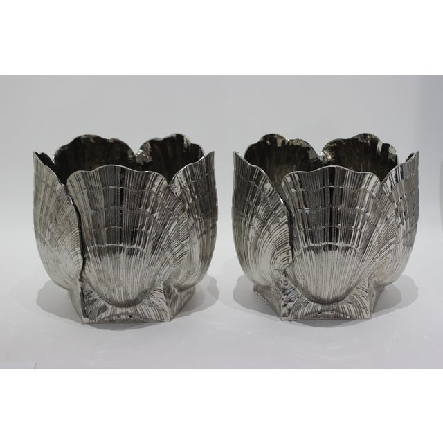"""Silver Nickel Plated Bronze Clamshell 9"""" Cachepot or Ice Bucket For Sale - Image 8 of 10"""