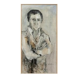 Original Signed Gino Hollander Acrylic Portrait, Framed For Sale