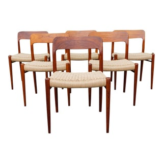1950s Danish Modern Niels Moller 75 Dining Chairs - Set of 6 For Sale