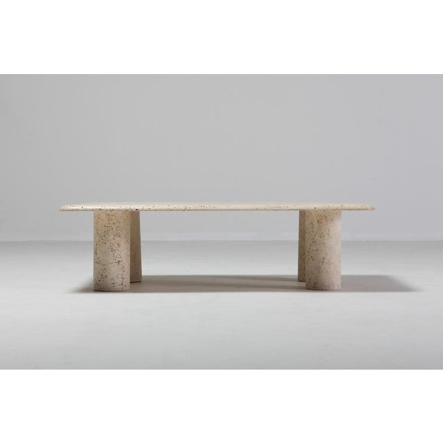 Contemporary Angelo Mangiarotti Travertine Coffee Table for Up & Up - 1970s For Sale - Image 3 of 11