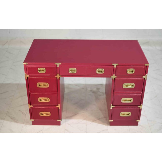 Mid-Century Modern 1970s Campaign Partner Desk From Drexel Et Cetera Collection For Sale - Image 3 of 9