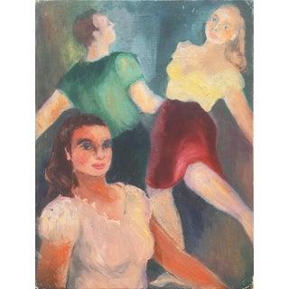 'Couple Dancing', American Folk Art Figural Oil, Works Progress Administration Era For Sale