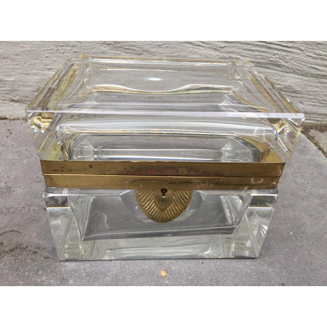 1960's Solid Glass trinket box . Brass trim Hinged Brass key sweet for a girls' room, powder room, living room display or...