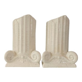 Vintage Neoclassical Ceramic Column Bookends- a Pair For Sale