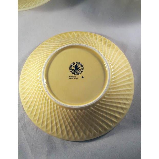 Late 19th Century 19th Century Mid-Century Modern Bordallo Penheiro Majolica Yellow Rabbit Bowls - Set of 4 For Sale - Image 5 of 6